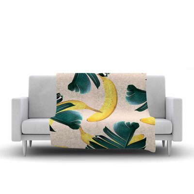 83 Oranges Banana Leaves and Fruit Mixed Media Fleece Throw Size: 50 W x 60 L