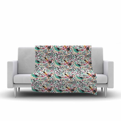 Pom Graphic Design Otomi Folk Birds Illustration Fleece Throw Size: 50 W x 60 L