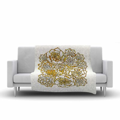 Pom Graphic Design Bohemian Succulents II Floral Fleece Throw Color: Gold White, Size: 60 W x 80 L