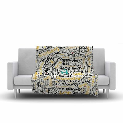 Pom Graphic Design Positive Messages Illustration Fleece Throw Size: 60 W x 80 L