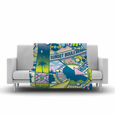Roberlan Sunset Boulevard Digital Fleece Throw Size: 60 W x 80 L