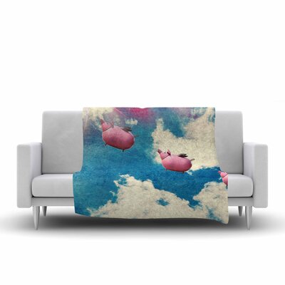Robin Dickinson When Pigs Fly Digital Fleece Throw Size: 50 W x 60 L