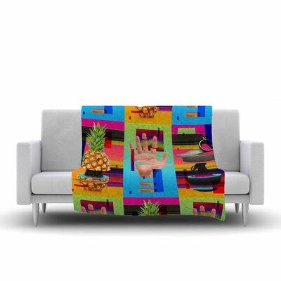 Roberlan Triptic Abstract Pop Art Fleece Throw Size: 60 W x 80 L