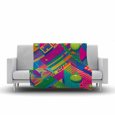 Roberlan the Fountain Abstract Pop Art Fleece Throw Size: 60 W x 80 L