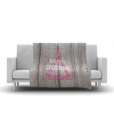 Suzanne Carter Merry Christmas Tree Holiday Mixed Media Fleece Throw Size: 50 W x 60 L