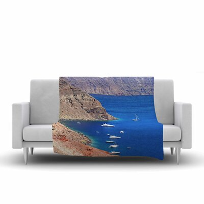 Sylvia Coomes Santorini Coastline Fleece Throw Size: 60 W x 80 L