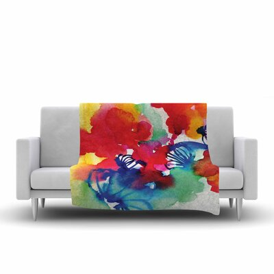 Sonal Nathwani Celebration Floral Painting Fleece Throw Size: 50