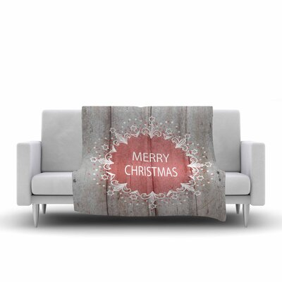 Suzanne Carter Merry Christmas Holiday Typography Fleece Throw Size: 60 W x 80 L