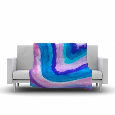Viviana Gonzalez Agate Inspired Watercolor Abstract Fleece Throw Size: 60 W x 80 L