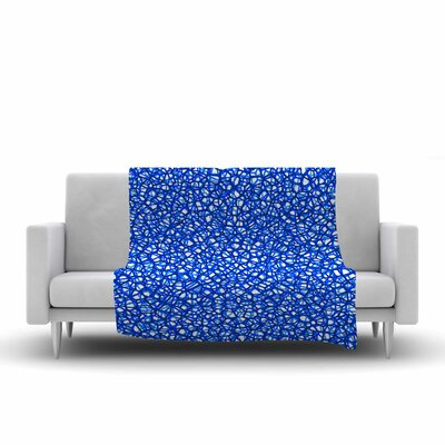 Trebam Staklo Digital Fleece Throw Size: 50 W x 60 L, Color: Blue/White
