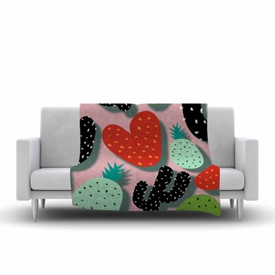 SusanaPaz Cactus and Pineapples Digital Fleece Throw Size: 50 W x 60 L