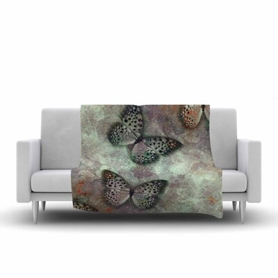 Shirlei Patricia Muniz World of Butterflies Olive Digital Fleece Throw Size: 50 W x 60 L