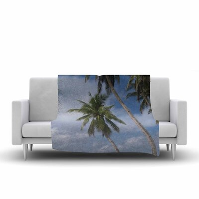 Susan Sanders Sky Ocean Palm Trees Photography Fleece Throw Size: 50 W x 60 L
