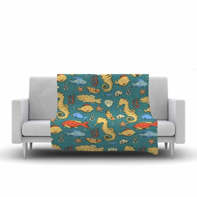 Stephanie Vaeth Under the Sea Illustration Fleece Throw Size: 50 W x 60 L