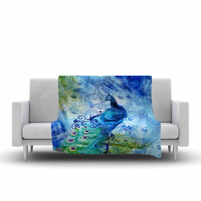 Victoria Krupp Peacock Digital Fleece Throw Size: 60 W x 80 L
