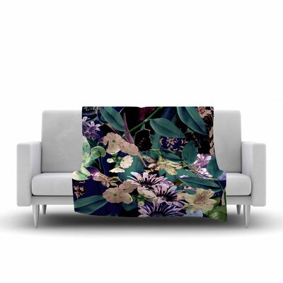 Victoria Krupp Midnight Garden Digital Fleece Throw Size: 60 W x 80 L