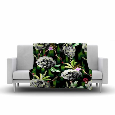 Victoria Krupp Twilight Peonies Digital Fleece Throw Size: 60 W x 80 L