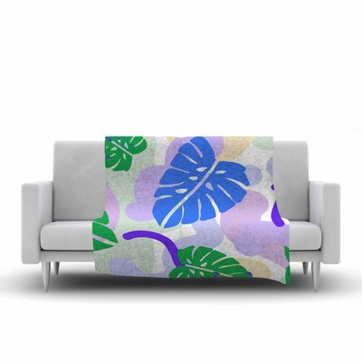 Vasare Nar Monstera Tropical Plant Digital Fleece Throw Size: 60 W x 80 L