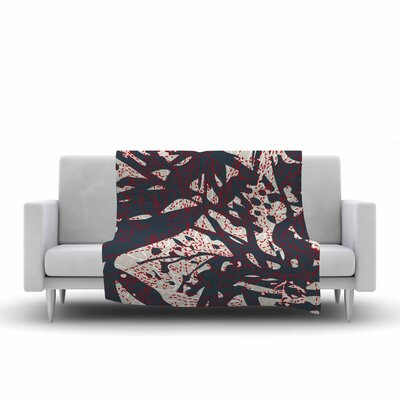 Patternmuse Inked Floral Latte Illustration Fleece Throw Size: 60 W x 80 L