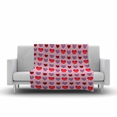 Mydeas Fancy Scribbled Hearts Pattern Vector Fleece Throw Size: 50 W x 60 L