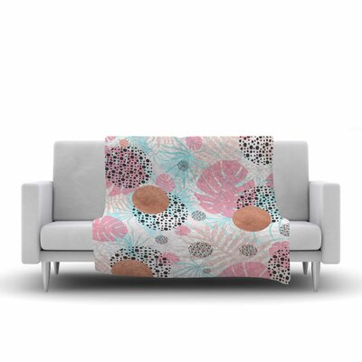 Mmartabc Abstract Monstera and Digital Fleece Throw Size: 60 W x 80 L