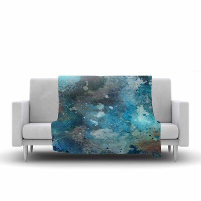 Li Zamperini Planet Watercolor Fleece Throw Size: 50 W x 60 L