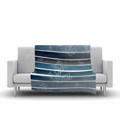 Li Zamperini Marine II Watercolor Fleece Throw Size: 60 W x 80 L