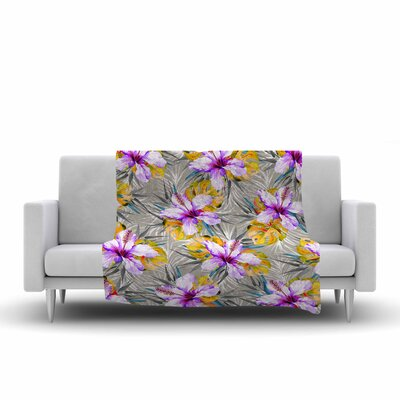 Mmartabc Tropical Flowery Illustration Fleece Throw Size: 50 W x 60 L