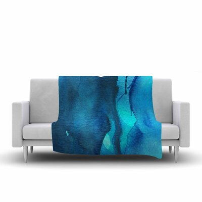 Li Zamperini Deep Sea II Watercolor Fleece Throw Size: 50 W x 60 L