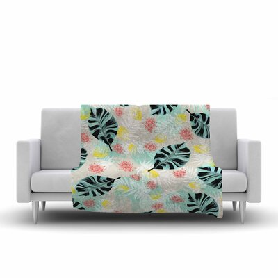 Mmartabc Tropical Plants Illustration Fleece Throw Size: 60 W x 80 L