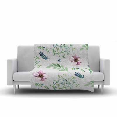 Louise Summer Flower Pattern Fleece Throw Size: 50 W x 60 L
