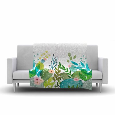 Li Zamperini Cute Foliage Watercolor Fleece Throw Size: 60 W x 80 L