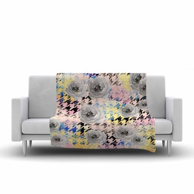 Mmartabc Houndstooth and Flowers Illustration Fleece Throw Size: 50 W x 60 L