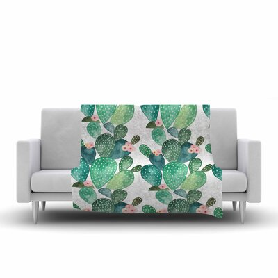 Li Zamperini Cactus Watercolor Fleece Throw Size: 50 W x 60 L