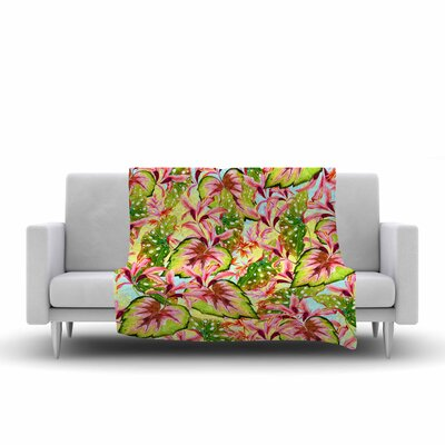 Mmartabc Exotic Botanical Pattern Illustration Fleece Throw Size: 60 W x 80 L