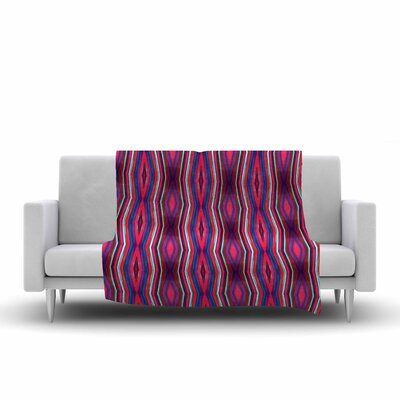 Miranda Mol Watercolor Zigzag Pattern Fleece Throw Size: 60 W x 80 L