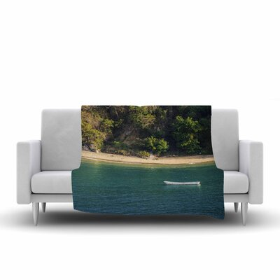 Nick Nareshni Lonely Boat on Coast Photography Fleece Throw Size: 50 W x 60 L