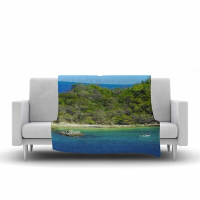Nick Nareshni the Lonely Fisherman Photography Fleece Throw Size: 50 W x 60 L
