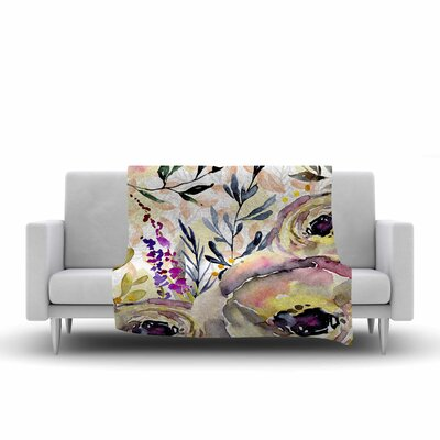 Mmartabc Watercolor Flowers and Leaves Illustration Fleece Throw Size: 50 W x 60 L
