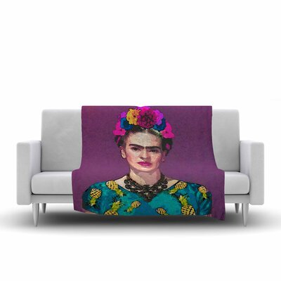Oriana Cordero Trendy Frida Kahlo Fleece Throw Size: 50 W x 60 L