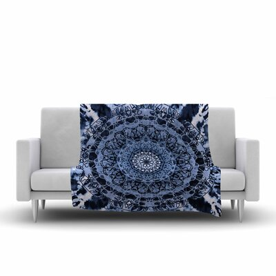Nina May TieDye Mandala Jain Illustration Watercolor Fleece Throw Color: Blue, Size: 60 W x 80 L