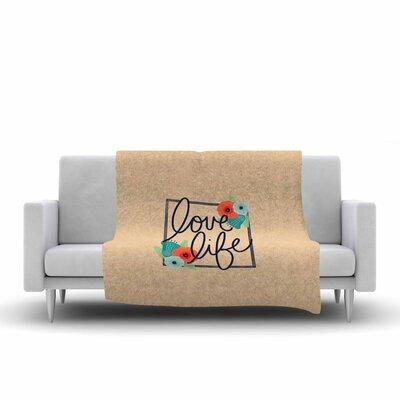 Noonday Design Love Life Digital Fleece Throw Size: 50 W x 60 L