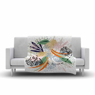 Mmartabc Abstract Marine Shapes Illustration Fleece Throw Size: 50 W x 60 L