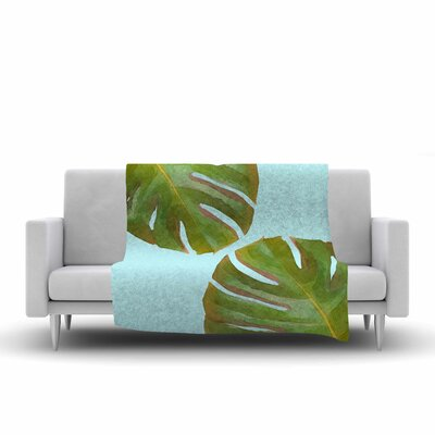 Oriana Cordero Tropico V2 Aqua Fleece Throw Size: 50 W x 60 L