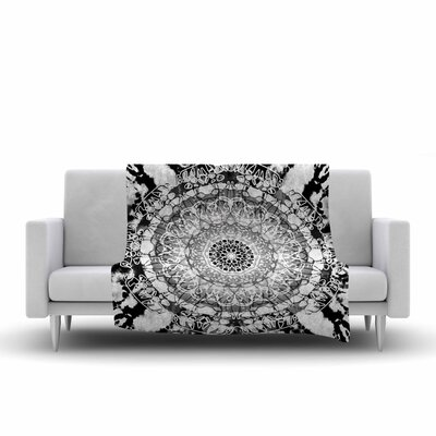 Nina May TieDye Mandala Jain Illustration Watercolor Fleece Throw Size: 50 W x 60 L, Color: Black