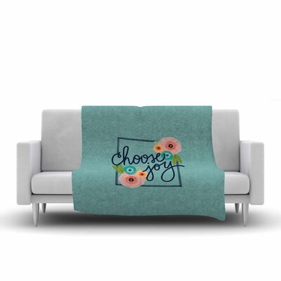 Noonday Design Choose Joy Floral Digital Fleece Throw Size: 50 W x 60 L
