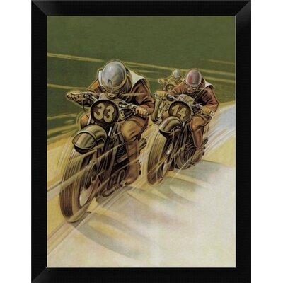 "'Motorcycle Racing' Framed Graphic Art Print Size: 12"" H x 9"" W, Format: Black Framed EASN5318 39514678"