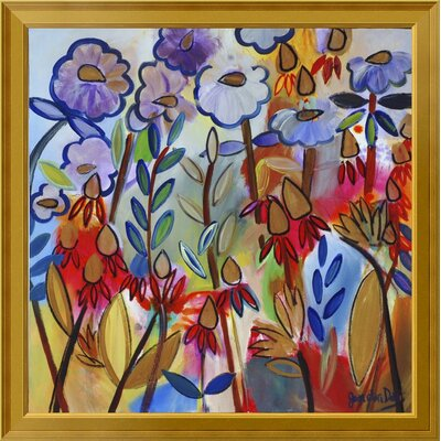 "'Golden Drops' Framed Print on Canvas Size: 28"" H x 28"" W, Matte Type: None EUAH7806 39833261"