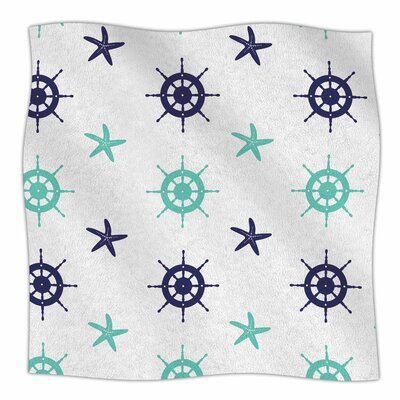 Afe Images Helm Wheel and Starfish Illustration Fleece Throw Size: 60 W x 80 L