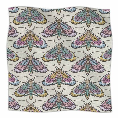 Amanda Lane Boho Gypsy Moth Digital Illustration Fleece Throw Size: 50 W x 60 L